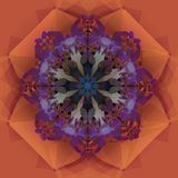 LIGHT BROWN AND PURPLE MANDALA FLOWER IN A GEOMETRIC BACKGROUND, RETRO STYLE stock photos
