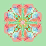 Pastel colors mandala , plain aquamarine background, naive style. Mandala in pastel colors pallet, plain aquamarine background. symmetry image stock illustration