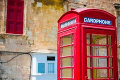 Cardphone in a steet of Valletta Royalty Free Stock Photography
