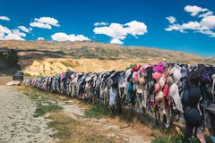 Cardrona bra fence - touristic attraction also named Bradrona collecting donations for fighting with breast cancer royalty free stock photography