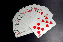 Cards. Pack of white cards on black background Stock Photo