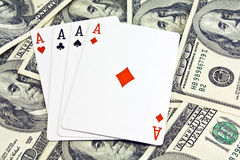 Cards. On 100 dollars background Royalty Free Stock Image