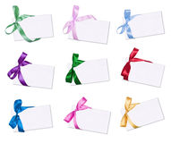 The cards. Decorated with bows Stock Images