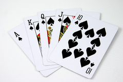 Cards. Hand of cards,royal flush Royalty Free Stock Photo
