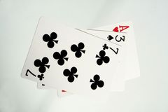 Cards. Ace, blackjack, cards, casino, clubs, four, gambling, game, games, heart Royalty Free Stock Photo