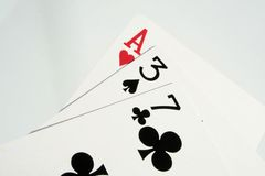 Cards. Ace, blackjack, cards, casino, clubs, four, gambling, game, games, heart Royalty Free Stock Image