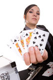 Cards. Attractive brunette woman with cards . over white background Royalty Free Stock Photos
