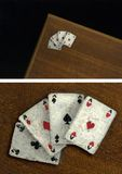 Cards. Poker aces on the wood box, it is an oil painting Royalty Free Stock Images