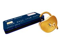 Cards. Plastic credit cards blocked with golden padlock and key Stock Images