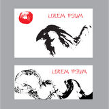 Cards with abstract birds. Hand-drawn with ink. Stock Photography