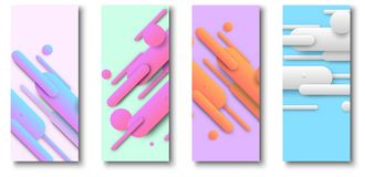 Cards with abstract pastel colors pattern. Cards with abstract pastel colors pattern isolated on white background. Vector illustration.rr Royalty Free Illustration