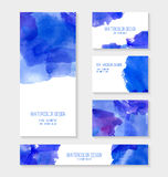 Cards with abstract watercolor stains. Stock Image