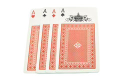 4 Cards 4 aces. Red facedown cards Stock Illustration