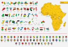 Cards African flags and icons. Vector illustration, africa map. flags of the countries of Africa and icons Royalty Free Stock Image