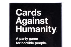 Cards Against Humanity Game. LONDON, UK - OCTOBER 21ST 2016: A close-up shot of the packaging to the Cards Against Humanity party game UK Edition, on 21st Stock Photo