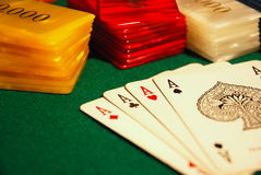 Cards And Poker Chips Stock Photography