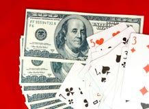 cards att leka för dollar Royaltyfria Bilder