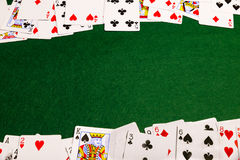 Cards On Baize Royalty Free Stock Photography