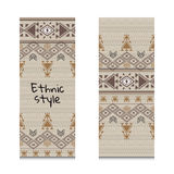 Cards or banners with tribal native ornaments. Vector ethnic design Stock Photo