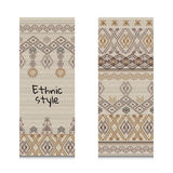 Cards or banners with tribal native ornaments. Vector ethnic design Royalty Free Stock Photos