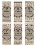 Cards or banners with tribal native ornaments. Vector ethnic design Stock Images