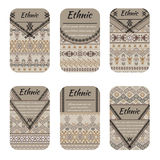 Cards or banners with tribal native ornaments. Vector ethnic design Stock Photos