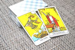 The Fool The Magician Tarot Card Predictions. This cards is about Beginnings, Void, Rebirth, Renewal, New Phase, Fresh,  Open to Change, Leap of Faith, Blind Stock Image