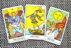 The Fool Tarot Card Strength Lovers Sun Star Background. This cards is about Beginnings, Void, Rebirth, Renewal, New Phase, Fresh,  Open to Change, Leap of Faith Royalty Free Stock Photos