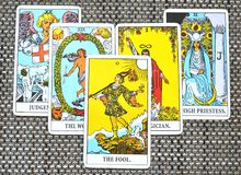 The Fool Tarot Card. This cards is about Beginnings, Void, Rebirth, Renewal, New Phase, Fresh,  Open to Change, Leap of Faith, Blind Faith, Convictions, and Stock Photo