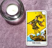 The Fool Tarot Card Beginnings, Void, Rebirth, Renewal, New Phase. This cards is about Beginnings, Void, Rebirth, Renewal, New Phase, Fresh, Open to Change, Leap stock image
