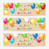 Cards with birthday balloons and confetti on grunge background Royalty Free Stock Photos
