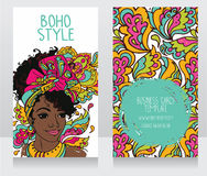 Cards for boho style with beautiful African American woman Royalty Free Stock Image