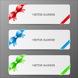 Cards with bow and ribbon in red green and blue co Stock Photography