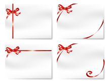 Cards with bows. Four blank cards with  red bows Stock Photos