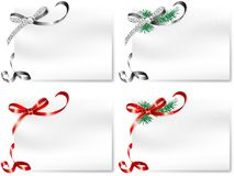 Cards with bows. Four blank cards with silver and red bows Royalty Free Stock Images