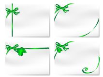 Cards with bows. Blank cards with green bows and cloverleaves Royalty Free Stock Images