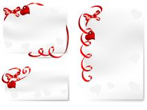 Cards with bows. Blank cards with  red bows and hearts Stock Images
