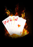 The cards are burning with fire background. Vector royalty free illustration