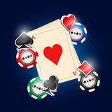 Cards. Card deck and poker chips vector illustration with three dimensional suits Stock Photography
