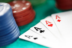 Cards and casino chips. Shallow depth of field for natural view Royalty Free Stock Photography