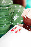 Cards and casino chips. Shallow depth of field for natural view Stock Photos