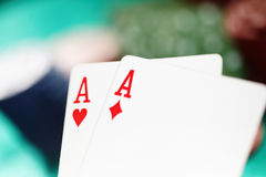 Cards and casino chips. Shallow depth of field for natural view Royalty Free Stock Photo