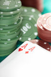 Cards and casino chips Royalty Free Stock Image