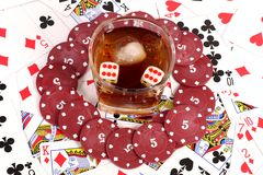 Cards and casino chips Stock Image