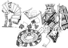Cards, casino, gamble illustration Royalty Free Stock Image