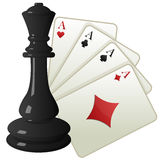Cards and chess Stock Image