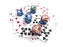 Cards with Chips Stock Image