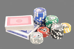 Cards and chips Royalty Free Stock Photo