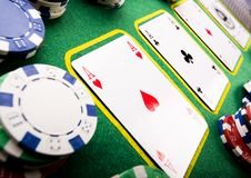 Cards & Chips. Casino - a place where you can win or lose money Stock Images