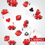 Cards Chips Casino Poker. Flying Cards Chips Dice Poker vector illustration
